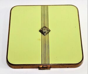Antique Enamel Facial Powder Box From 1950 Art Deco Design