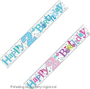 9ft Sparkly Foil Blue or Pink Happy 2nd Birthday Banner Party Wall Decorations E