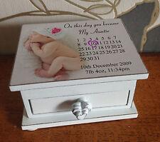 Personalised small wooden box, trinket jewellery box, baby birthday memory gift.