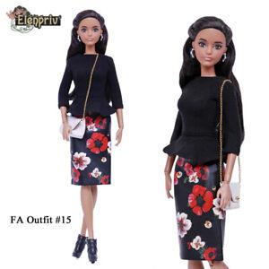 """ELENPRIV FAO-015 skirt +top +bag for Barbie MTM Pivotal Poppy Parker 12"""" doll"""