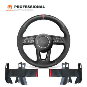 Custom DIY Soft Suede Leather Car Steering Wheel Cover Wrap for Audi A3 A4 A5 S5