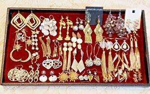 30 Piece Vintage & Modern Mixed Tone Dangle Pierced Earring Lot
