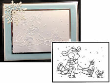 Christmas Embossing Folders KOETIE SKATING Animals PIF019 Cuttlebug Compatible