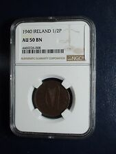1940 Ireland Half Penny NGC AU50 BN 1/2P Coin PRICED TO SELL NOW!