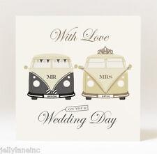 Handmade  Mr and Mrs Campervan Wedding Card