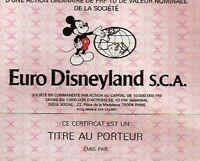 Euro Disneyland Aktie Paris 1983 Frankreich Micky Maus Park Hotel Disney France