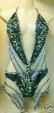 Da NeeNa M068 Showgirl Vegas Stage Drag Sexiest Latin Green Leotard XS-XL