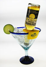 Mexican Margarita Glasses, blue rim, Corona Rita holder, 20 oz., 2 Free Shipping