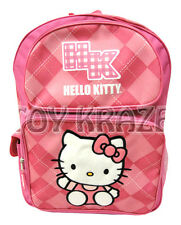 "HELLO KITTY BACKPACK! TWO TONED PINK ARGYLE LARGE SCHOOL BAG SANRIO 16"" NWT"