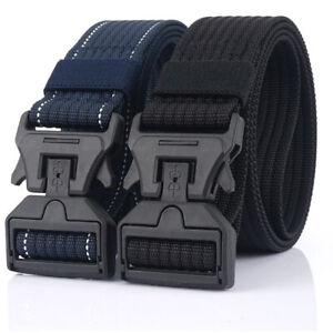 "2x Tactical Belts Quick Release Plastic Magnetic Buckle Nylon Webbing Belt 1.5"""