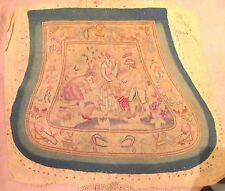 antique 1700's hand embroidered figural needlepoint seat cover embroidery French