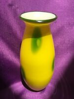 Margie's Garden Creative Artisan Hand Blown Modern Art Glass Vase Yellow Green