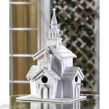 shabby WHITE gingerbread Victorian CHURCH Wood fairy garden Bird house birdhouse