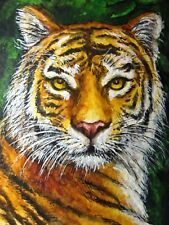 Watercolor Painting Tiger Face Big Cat Wild Nature Animals Aceo Art