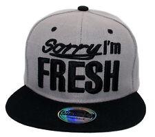 Cappy Herren Cap Basecap US Style Flat Brim Snapback Sorry Im Fresh Grau  Schwarz 7fd263d588