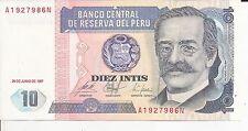 1991 Billete Peru 10 intis