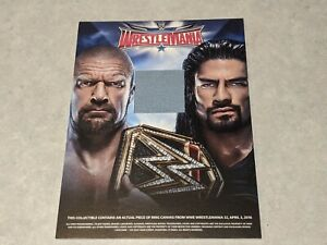 WRESTLEMANIA 32 Authentic Used Ring Canvas Collectible Wrestling Mat Jumbo Card
