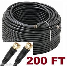 200 FT RG-6 SATELLITE COAXIAL CABLE RG6 HD CONNECTOR WIRE TV BELL DISH OTA COAX