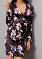 NEW Lipsy Black Floral Printed Satin Ruched Dress Size 8 RRP £55