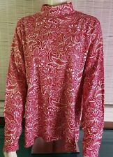 Studio Works Woman - Crew Neck Pullover Top - Red White Gold Print 2X NWT $24