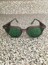 Vintage Vtg Work Tinted Eye Glasses Green Shades Retro Clear Safety Norton Frame