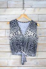 Vintage Gris Estampado Leopardo Corbata Dar Cuerda Blusa (M)