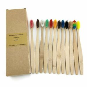 12 Pcs Bamboo Toothbrush Natural Eco Friendly Soft Handle Oral Care Soft Bristle