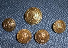 Lot 5 bouton militaire uniforme marine ?Laiton 1 x 2cm (20mm) + 4 x 1.4cm (14mm)
