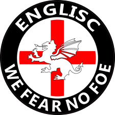 "ENGLISC ""FEAR NO FOE"" CAR WINDOW STICKER - England, Anglo-Saxon, White Dragon"