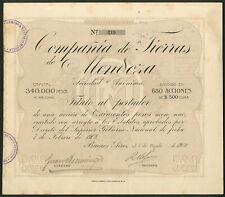 Argentina: Cia. de Tierras de Mendoza, 500 peso share, 1910