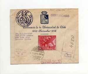!!! WWII, CHILE, 1942 REGISTERED LETTER TO USA WITH AMERICAN CENSORSHIP