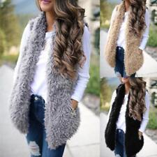 Ladies Women Faux Fur Vest Coat Jacket Solid Casual Sleeveless Warm Waistcoat