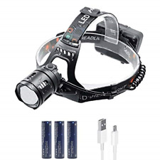 WASAGA Head Torch, 5000 Lumen Zoomable LED Headlamp, 3 Modes Rechargeable LED