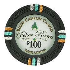 100 Black $100 Bluff Canyon 13.5g Clay Poker Chips - Buy 3, Get 1 Free
