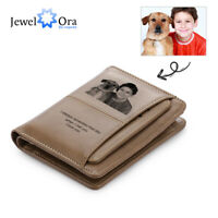 Personalized Photo Men Leather Wallet Bifold Engrave Text Card Holder Coin Purse