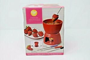Wilton FONDUE SET w/ forks for Chocolate/Dessert  Red Ceramic - NEW IN BOX