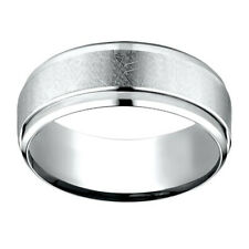 14K White Gold 7.00 MM Comfort-Fit Men's Wedding Band Ring Sz-7