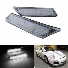 White LED Side Marker Front Bumper Reflector Light Clear For Porsche 911 997 987