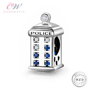Police Phone Box Charm Genuine 925 Sterling Silver 💞 Dr Who Time Machine Tardis