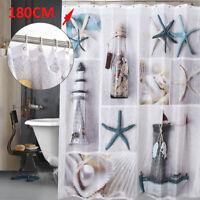 180x180cm Fabric Seashell and Sandy Beach Sea World Bathroom Shower Curtain UK