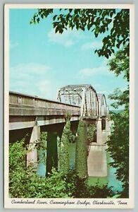 Clarksville Tennessee~Cunningham Bridge Over Cumberland River~Vintage Postcard