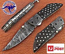 "Damascus Steel Handmade 7.5"" Camping Folding Pocket Knife - Polka Dot Sheet P21"