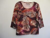 Chico's Women's Size 0 Cotton 3/4 Sleeve Pink Floral Blouse