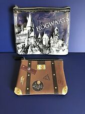 Harry Potter Hogwarts SET OF 2 Pencil Case Make Up Case Personal Items Pouch