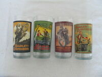 Set of 4 Vintage Harley-Davidson Motorcycles Drinking Glass -VERY COOL / Unique