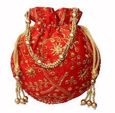 Designer Silk Embroidered Potli Bag Pearl Handle Purse Stylish Women's Handbag R