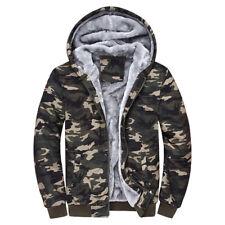 Winter Warm Men's Camouflage Camo Fur Fleece Lined Zip Hoodie Jacket Hooded Coat