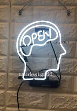 "New Open Mind White Neon Sign 14""x10"" Bar Wall Decor Artwork Light Lamp Display"