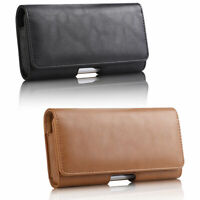 For iPhone 11 Samsung S9+ Genuine Leather Case Magnetic Clip Holster Pouch Cover