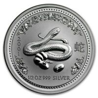 2001 Australia 50 Cents Series 1 Lunar Year of the Snake 1/2 oz Silver BU Coin